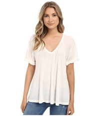 Free People Tri Blend Free Falling Tee Ivory Women's Short Sleeve Pullover White