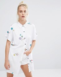 Lazy Oaf Oversized Shirt With Planets And Space Print White