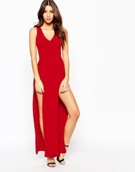 Naanaa Deep Plunge Sexy Maxi Dress With Double Thigh Split Red