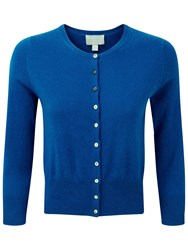 Pure Collection Haley Cashmere Cropped Cardigan Oxford Blue