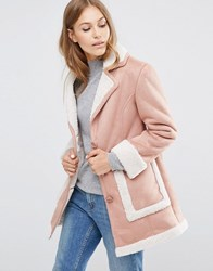 Asos Vintage Style Faux Shearling Coat Dusty Pink