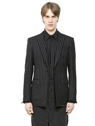 Givenchy Pinstriped Wool Flannel Jacket Black