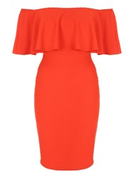 Jane Norman Ruffle Bodycon Bardot Dress Orange