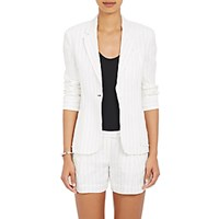 Atm Anthony Thomas Melillo Women's Striped Slub Weave Schoolboy Blazer White