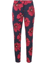 Lela Rose Floral Slim Trousers Blue