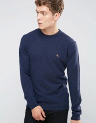 Asos Lambswool Rich Lightweight Jumper With Embroidered Logo Navy