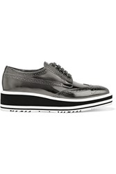 Prada Metallic Leather Brogues Gunmetal