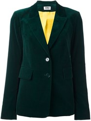 Sonia Rykiel By Velvet Effect Single Breasted Blazer Green