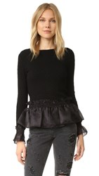 Opening Ceremony Floral Jersey Ruffle Top Black