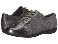 Soft Style Valda Dark Grey Paisley Faux Suede Dark Grey Pearlized Patent Women's Shoes Gray