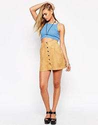 Button Through Faux Suede A Line Skirt Tan