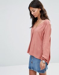 B.Young January Tie Neck Woven Blouse Blush Pink
