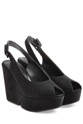 Robert Clergerie Suede Platform Peep Toe Sandals Black