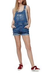 Women's Topshop Distressed Short Overalls Mid Denim
