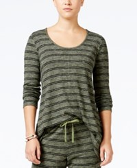 Hippie Rose Juniors' Striped Pullover Hoodie Olive Branch