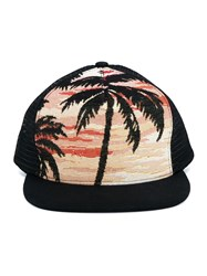 Saint Laurent Palm Tree Jacquard Trucker Hat Black