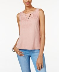 American Rag Embroidered Faux Suede Top Only At Macy's Lightt Rose
