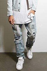Forever 21 Dope Distressed Underlay Jeans Light Blue