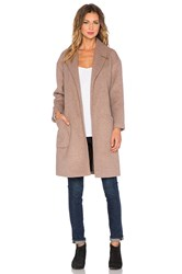 Maison Scotch Wrapover Wool Robe Jacket Taupe