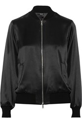 Adam By Adam Lippes Silk Satin Bomber Jacket Black
