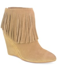 Chinese Laundry Arctic Wedge Fringe Booties Women's Shoes Dark Camel Suede