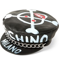 Moschino Chain Link And Skull Emblem Leather Hat A5555