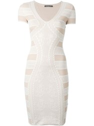 Alexander Mcqueen Victorian Lace Knit Dress Pink And Purple