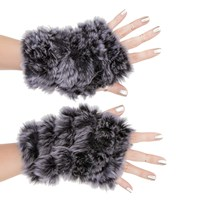 Jocelyn Fingerless Mittens Black Medium Grey
