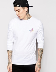 Friend Or Faux Long Sleeve T Shirt With Back Print White