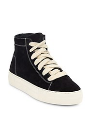 Helmut Lang High Top Suede Lace Up Sneakers Black