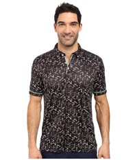 Robert Graham Hills Of Sand Short Sleeve Knit Polo Black Men's Short Sleeve Pullover