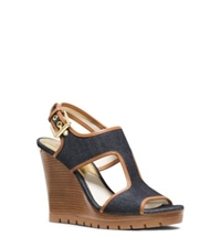Michael Kors Gillian Leather Trimmed Denim Wedge Indigo