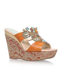 Rene Caovilla Rene Caovilla Belladonna Embellished Wedge Sandals Female Tan