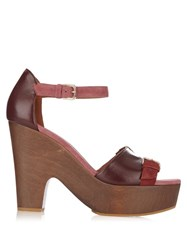 Malone Souliers June Suede And Leather Clogs Burgundy Multi