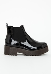 Missguided Rubber Sole Chelsea Boots Black Patent Black