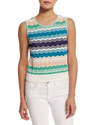 M Missoni Sleeveless Micro Zigzag Top Ivory