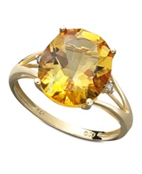 Macy's 14K Gold Ring Citrine 3 1 2 Ct. T.W. And Diamond Accent Statement Ring