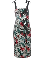 Antonio Marras Leaf Print Pencil Dress Black