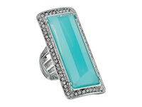 Guess Faceted Elongated Rectangular Stone Ring Silver Crystal Turquoise Ring Blue