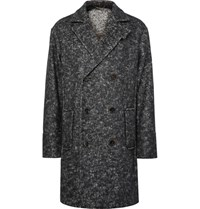 Berluti Oversized Double Breasted Herringbone Felt Coat Black