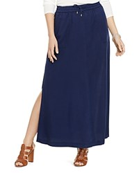 Lauren Ralph Lauren Plus Drawstring Maxi Skirt Authentic Navy