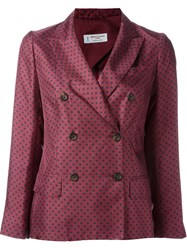 Alberto Biani Floral Print Double Breasted Blazer Pink And Purple