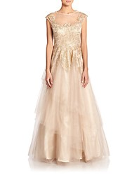 Teri Jon By Rickie Freeman Embroidered Tulle Gown Gold