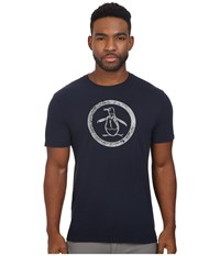 Original Penguin Short Sleeve Glow In The Dark Circle Logo Dark Sapphire Men's T Shirt Blue