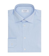 Eton Contemporary Fit Cotton Twill Shirt Male Blue