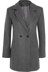 Lot 78 Crombie Leather Trimmed Wool Blend Felt Coat Gray