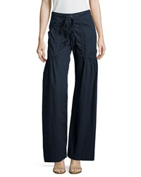 Xcvi Willowy Wide Leg Drawstring Cargo Pants Navy
