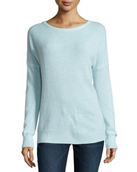 Minnie Rose Cashmere Relaxed Pullover Sweater Fountain Bleu