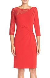 Women's Ellen Tracy Lace Sleeve Jersey Sheath Dress Red