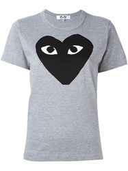 Comme Des Garcons Play Heart Print T Shirt Grey
